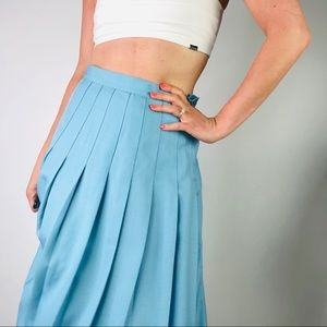 VINTAGE Pastel Blue High Waist Pleated Midi Skirt